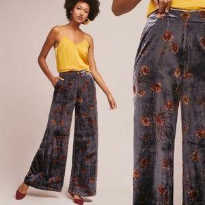 Anthro Ettitwa Jessie Velvet Wide-Legged Pants